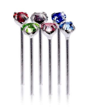 Blue Banana Silver 0.5 x 10 x 2mm Multicoloured Jewelled Nose Studs (Pack of 6)
