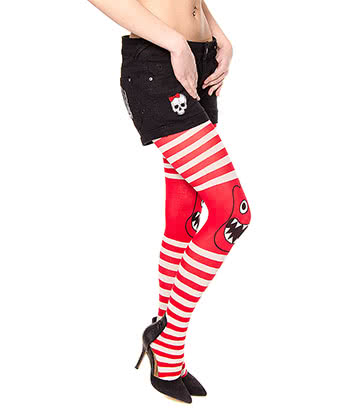 Blue Banana Monster Tights (White/Red)