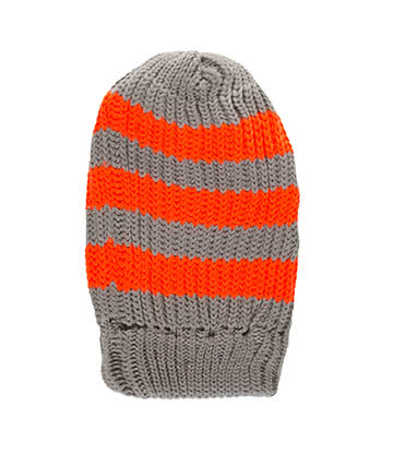 Blue Banana Gestreiftes Beanie (Grau/Neon Orange)