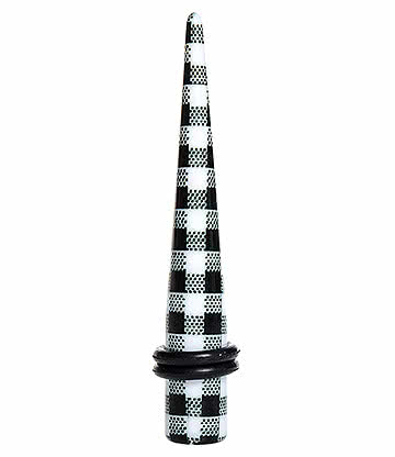 Blue Banana Acrylic Plaid Ear Stretcher (Black/White)