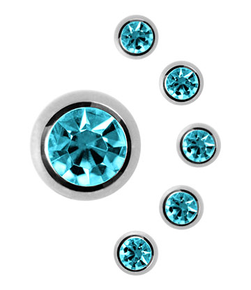 Blue Banana Surgical Steel 3mm Jewelled Ball (Aqua)