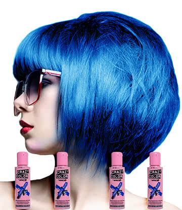 Crazy Color Semi-Permanent Hair Dye 4 Pack 100ml (Capri Blue)