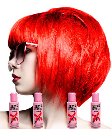 Crazy Color Semi-Permanent Colour Hair Dye 4 Pack 100ml (Fire Red)