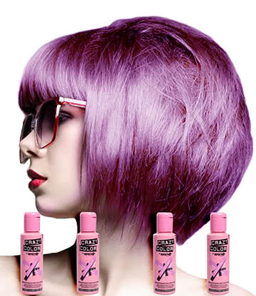 Crazy Color Semi-Permanent Hair Dye 4 Pack 100ml (Lavender)