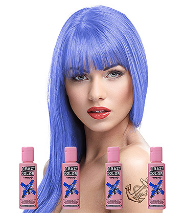 Crazy Color Semi-Permanent Hair Dye 4 Pack 100ml (Lilac)