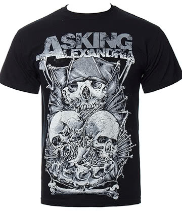 Official Asking Alexandria Skull Stack T Shirt (Black)