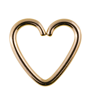 Blue Banana Surgical Steel 1.2mm x 10mm Daith Heart Ring (Gold)