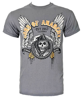 Sons Of Anarchy Winged Logo T Shirt (Grey)