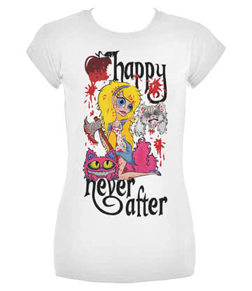 Happy Never After Alice Severed Head Skinny Fit T Shirt (White)