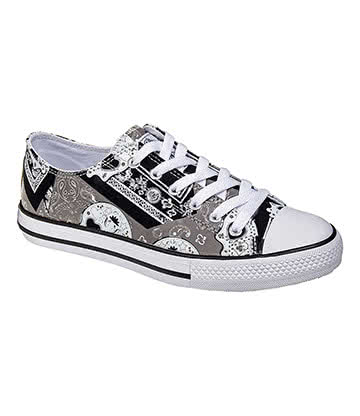 Bleeding Heart Sugar Skull Canvas Shoes (Grey)