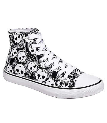 Bleeding Heart Sugar Skull Canvas Hi Tops (Grey)