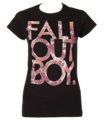 Official Fall Out Boy Floral Skinny T Shirt (Black)