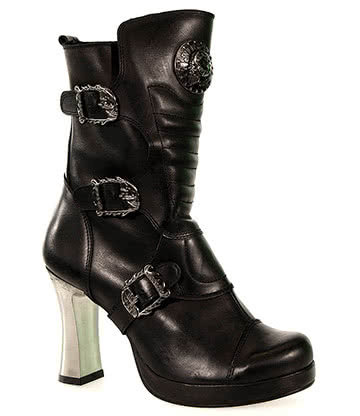 New Rock M.5832-C1 Goth Heeled Boots (Black)