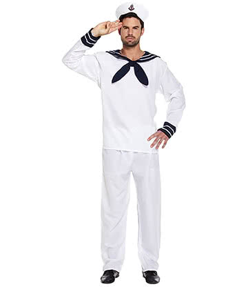 Blue Banana Sailor Fancy Dress Costume (White)