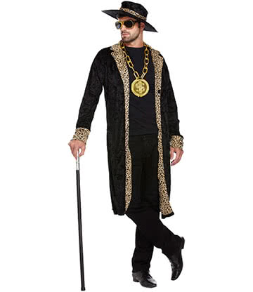 Blue Banana Pimp Fancy Dress Costume (Black)