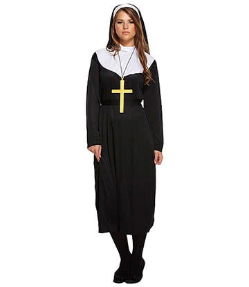 Blue Banana Nun Fancy Dress Costume (Black)