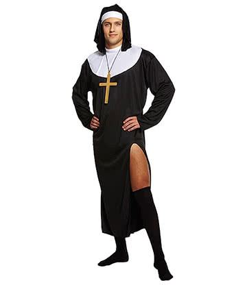 Blue Banana Nun Male Fancy Dress Costume (Black)