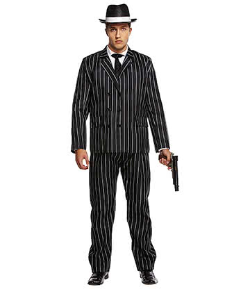 Blue Banana Gangster Fancy Dress Costume (Black)