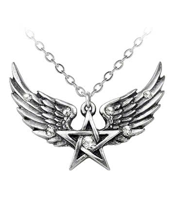 Alchemy Gothic O Fortuna Pentagram Pendant Necklace (Silver)