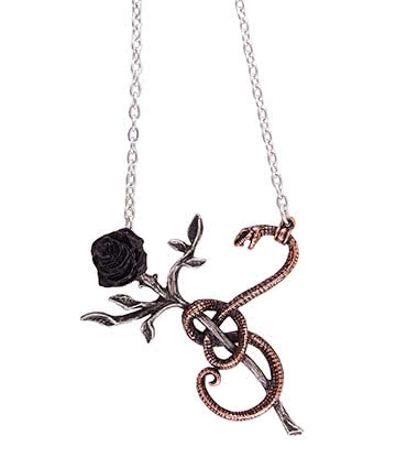 Alchemy Gothic A Rose For Eve Pendant Necklace (Silver)