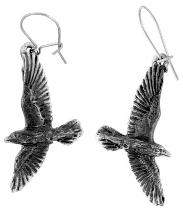 Alchemy Gothic Black Raven Earrings