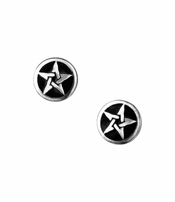Alchemy Gothic Pentanoir Stud Earrings (Silver/Black)