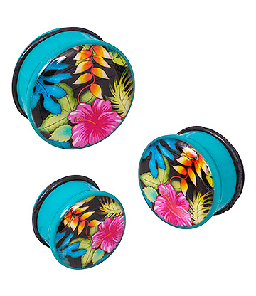 Blue Banana Acrylic Floral Turquoise Ear Plug 4-24mm (Multicoloured)