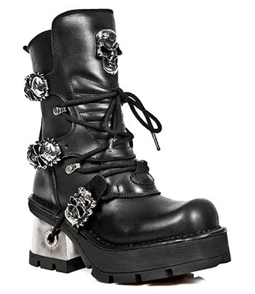 New Rock M.1044-S1 M8 Heeled Boots (Black)