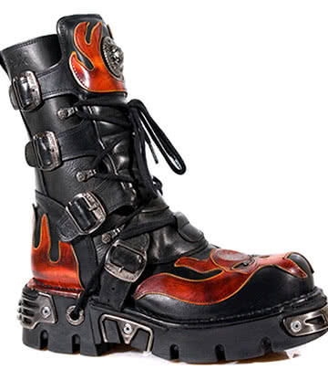 New Rock M.107-S1 Reactor Demon Flame Boots (Black/Orange)