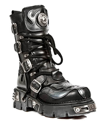 New Rock Style M.107-S2 Demon Flames Boots (Black)