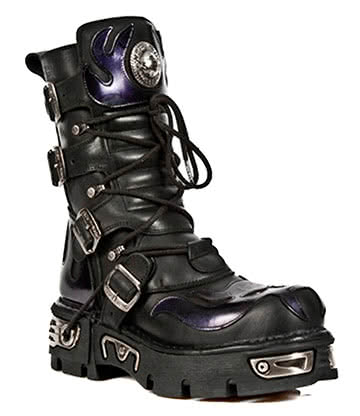 New Rock M.107-S4 Reactor Demon Flame Boots (Black/Purple)