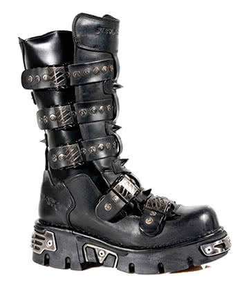 New Rock Style M.134-S1 Slashed Buckles Boots (Black)