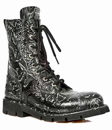 New Rock M.1423-S2 Comfort-Light Vintage Flower Half Boots (Black)