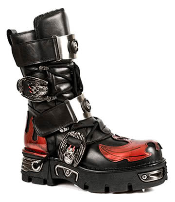 New Rock M.195-S1 Reactor Bat Flame Boots (Black/Red)