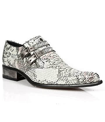 New Rock M.2246-S11 Newman Snakeskin Shoes (White)