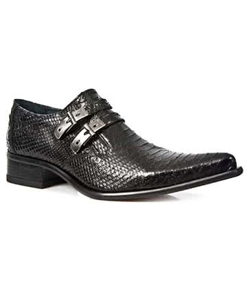 New Rock Style M.2246-S21 Snakeskin Shoes (Black)