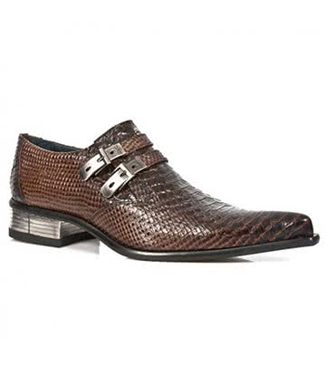 New Rock M.2246-S22 Newman Snakeskin Shoes (Brown)