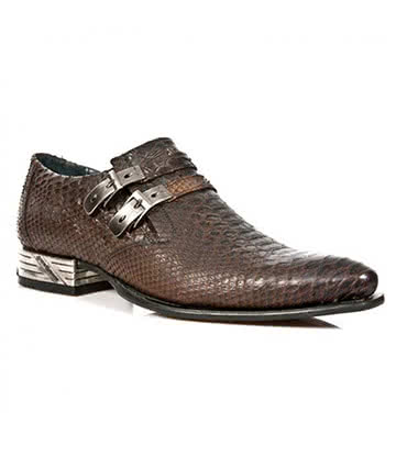 New Rock M.2246-S32 VIP Snakeskin Shoes (Dark Brown)