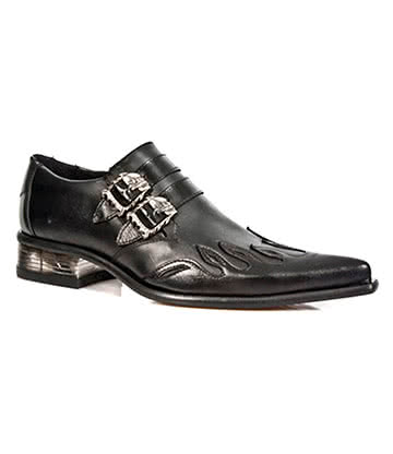 New Rock M.2358-S1 Newman Flame Shoes (Black)