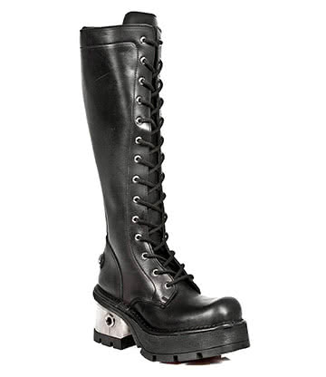 New Rock Style M.236-S1 Tall Laced Steel Heel Boots (Black)