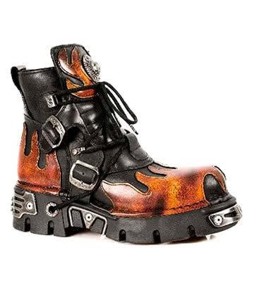 New Rock M.288-S1 Reactor Flame Ankle Boots (Black/Orange)