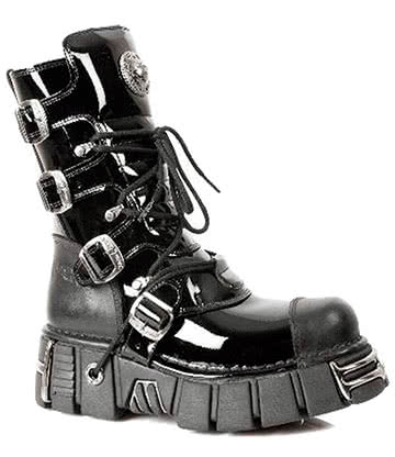 New Rock M.313-S1 Tower Patent Boots (Black)