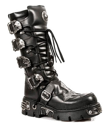 New Rock Style M.403-S1 Skull Fire Buckle Mid Boots (Black)