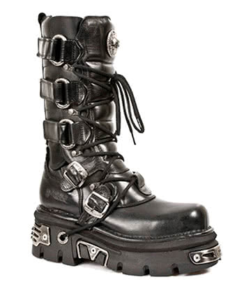 New Rock Style M.474-S1 Velcro & Buckle Reactor Boots (Black)
