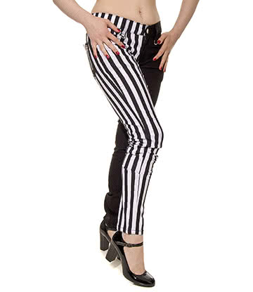 Banned Stripe Jeans (Black/White)