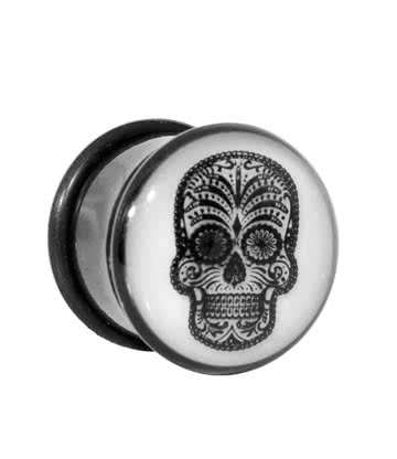 Blue Banana Body Piercing Dilatación Glow In The Dark Sugar Skull Plug (Blanco)