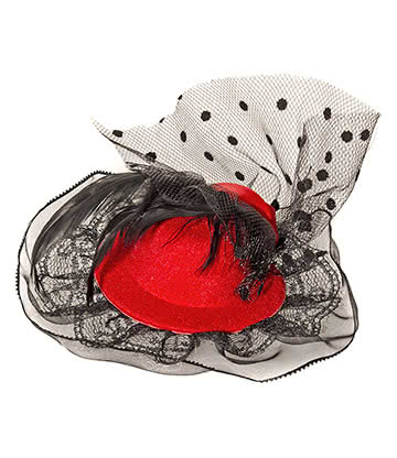 Blue Banana Mini Rose Hat Fascinator (Red)