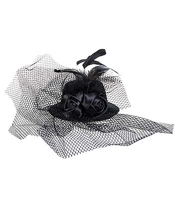 Blue Banana Small Hat & 2 Roses Fascinator (Black)