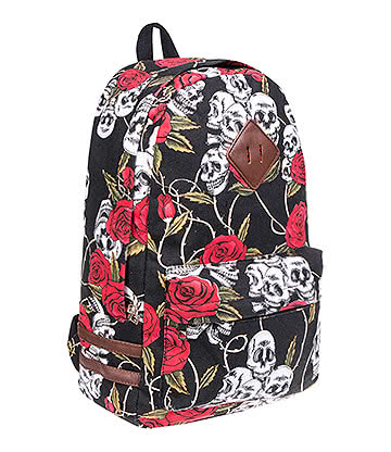 Blue Banana Red Rose Skull Backpack (Black)