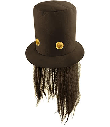 Blue Banana 80s Rock Hat With Hair (Black)